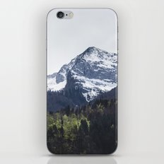Winter and Spring - green trees and snowy mountains iPhone & iPod Skin