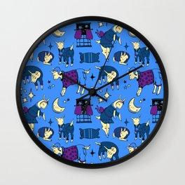 Sleepy-Time Goats Wall Clock
