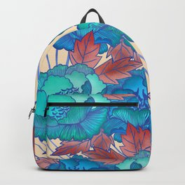 Peonies and Stripes Pattern - Blue, Purple,Yellow Backpack