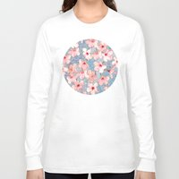 bedding Long Sleeve T-shirts featuring Shabby Chic Hibiscus Patchwork Pattern in Pink & Blue by micklyn
