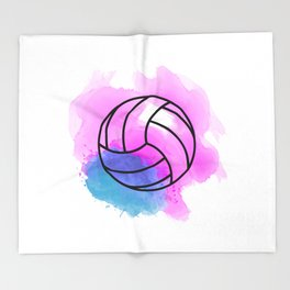 Volleyball Watercolor Throw Blanket