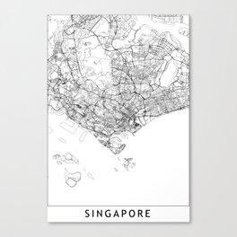 Singapore White Map Canvas Print