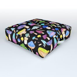 Colorful Mushroom Watercolor on Black Outdoor Floor Cushion