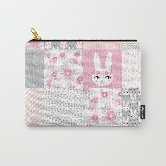Bunny quilt baby decor newborn nursery charlotte winter pink grey decor for little girl Carry-All Pouch
