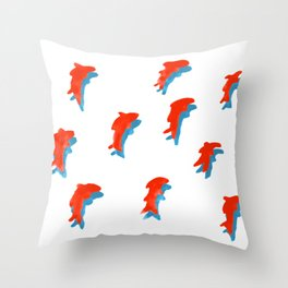 Red Fish People with Blue Shadow Throw Pillow