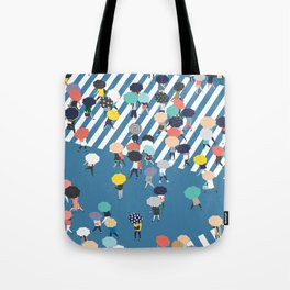 Crossing The Street On a Rainy Day - Blue Tote Bag