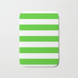 Harlequin green - solid color - white stripes pattern Bath Mat