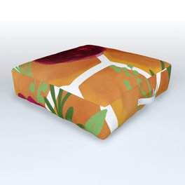 Honeycomb and Flowers Outdoor Floor Cushion