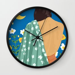 I Have Loved The Moon & The Stars Too Fondly To Be Fearful of The Night #illustration #painting Wall Clock