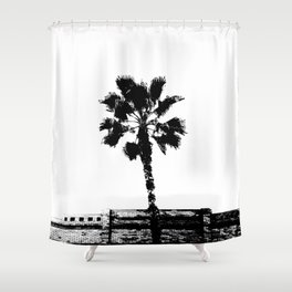 Black & White Palm Shower Curtain