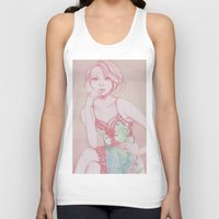 water colour Tank Tops featuring Water Colour Girl 2 by DeeDee Design