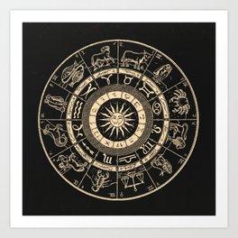 Vintage Zodiac & Astrology Chart | Charcoal & Gold Art Print