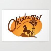 oklahoma Art Prints featuring Oklahoma by Jacinta Eve