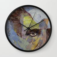 poe Wall Clocks featuring Poe by Michael Creese