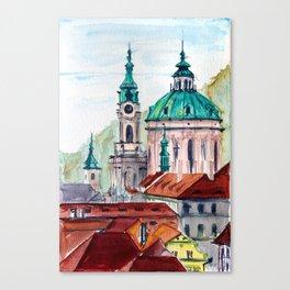 Prague Czech Republic watercolor Canvas Print