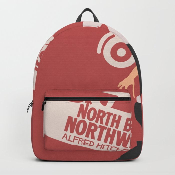 North by northwest, Alfred Hitchcock minimalist movie poster, thriller, Cary Grant, Eva Marie Saint Backpack