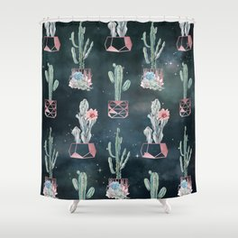 Rose Gold Desert Potted Cactuses and Succulents Night Sky Shower Curtain