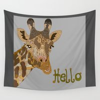 hello Wall Tapestries featuring Hello by ArtLovePassion