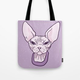 Lilac Point Seal Grumply Wrinkly Sphynx Kitty - Hairless Cat Illustration - Bad Cattitude - Line Tattoo Art Tote Bag