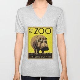 Visit the ZOO Philadelphia Hippopotamus 1936 Vintage America WPA Travel Poster Unisex V-Neck