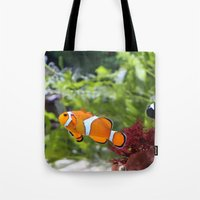 nemo Tote Bags featuring Finding Nemo! by Becky Dix