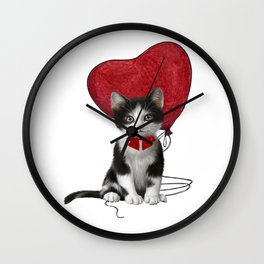Valentines kitty with heart balloon Wall Clock