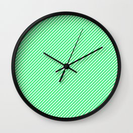Lanai Lime Green - Acid Green and White Candy Cane Stripe Wall Clock