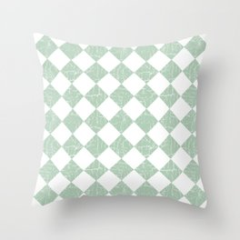 Rustic Farmhouse Checkers in Sage Green and White Throw Pillow