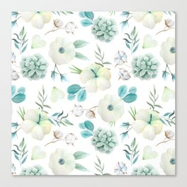 Trendy white blue teal hand painted watercolor flowers Canvas Print