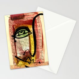 "Funky Face Abstract, ""I See 35"" by Kathy morton Stanion Stationery Cards"