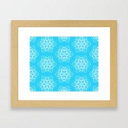 White Snowflakes stars ornament on Blue Framed Art Print