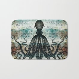 Octopus In Stormy Water Bath Mat