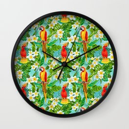 Tropical Parrot Chillin Wall Clock
