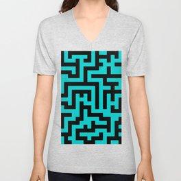 Black and Cyan Labyrinth Unisex V-Neck