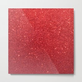 Shiny Sparkly Christmas Cherry Red Glitter Metal Print