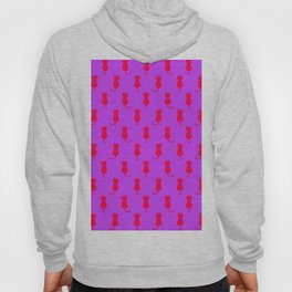 Polka Dot Pattern Pop Art Cat In Red and Lilac Hoody