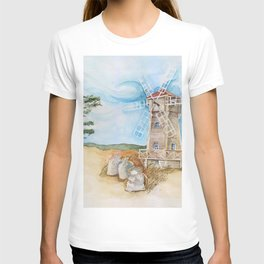 Watercolor illustration of a mill in the field. T-shirt