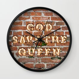 God save the Queen - Brick Wall Clock