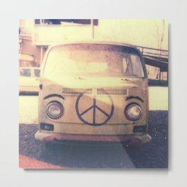 Happy VW Van Polaroid Metal Print