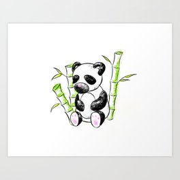 Digital Charcoal Panda (without glimmer) Art Print