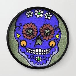 Dia De Los Muertos Mexican Sugar Skull Purple Wall Clock