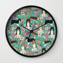 Shetland Sheep Dog florals cute dog breed illustration pattern gifts for dog lover by pet friendly Wall Clock