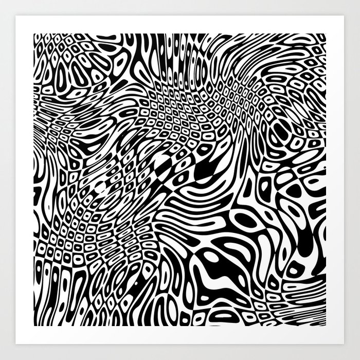 Black white psychedelic optical illusion Art Print