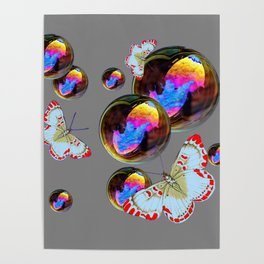 SURREAL WHITE-RED BUTTERFLIES & BUBBLES Poster