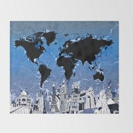 world map city skyline 8 Throw Blanket