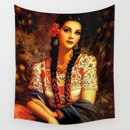 Jesus Helguera Painting of a Mexican Calendar Girl with Braids Wall Tapestry
