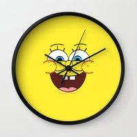 spongebob Wall Clocks featuring Spongebob 1 by Valerie Hoffmann