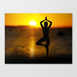 Yoga Female by the Ocean at Sunset Canvas Print