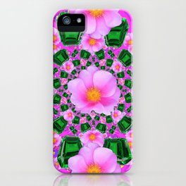 May Babies Emerald Gems & Pink Roses iPhone Case