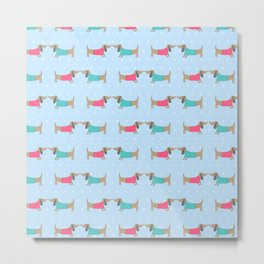 Cute dog lovers with dots in blue Metal Print